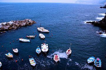 Bootjes aan de kust van Cinque Terre van Onne Kierkels