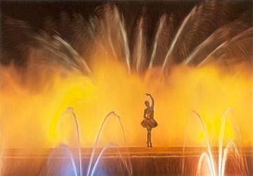 Balletdanseres in fontein van Marcel van Balken
