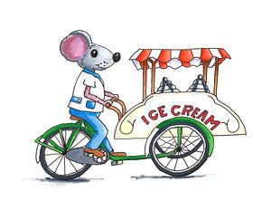 Eiscreme-Typ Eiscreme auf Lastenfahrrad aus