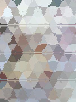 Abstract driehoeken in blauw paars en beige tinten van Maurice Dawson