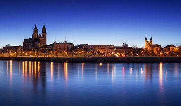 Magdeburg zur blauen Stunde von Frank Herrmann