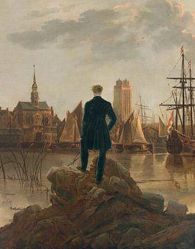 Der Spaziergänger blickt bei Sonnenuntergang auf Dordrecht