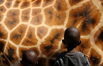 giraf  en afrikaanse kinderen sur Martijn Wams