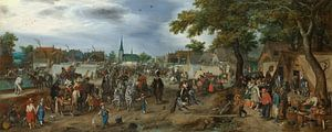 Prins Maurits en Frederik Hendrik op de paardenmarkt van Valkenburg, Adriaen Pietersz. van de Venne