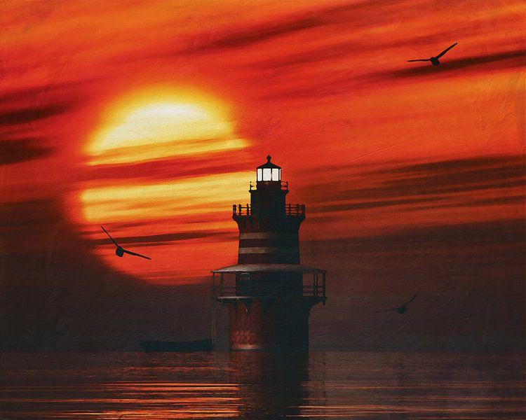 De Vuurtoren van Newport met een zonsondergang en Uitgestrekte Stratus wolken van Jan Keteleer