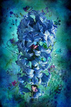 Blaue Hyazinthe mit losen Blütenäthen in künstlerischer Fassung. von Helga Blanke