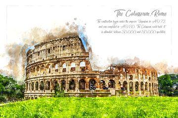 Coloseum, Aquarel, Rome van Theodor Decker