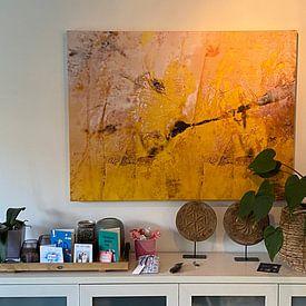 Klantfoto: The little yellow flower van Gabi Hampe, op canvas