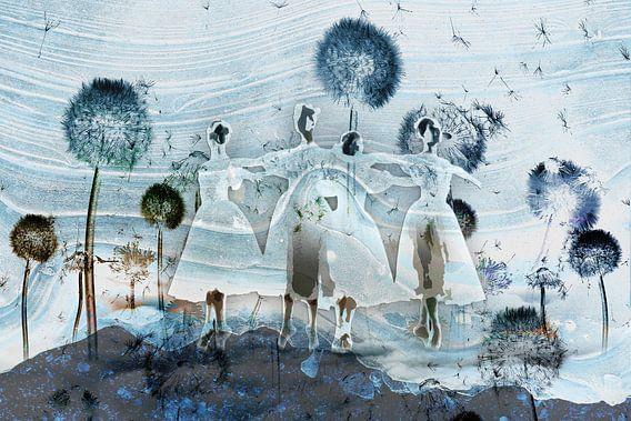 Prima ballerina in het blauw tussen de paardenbloemen
