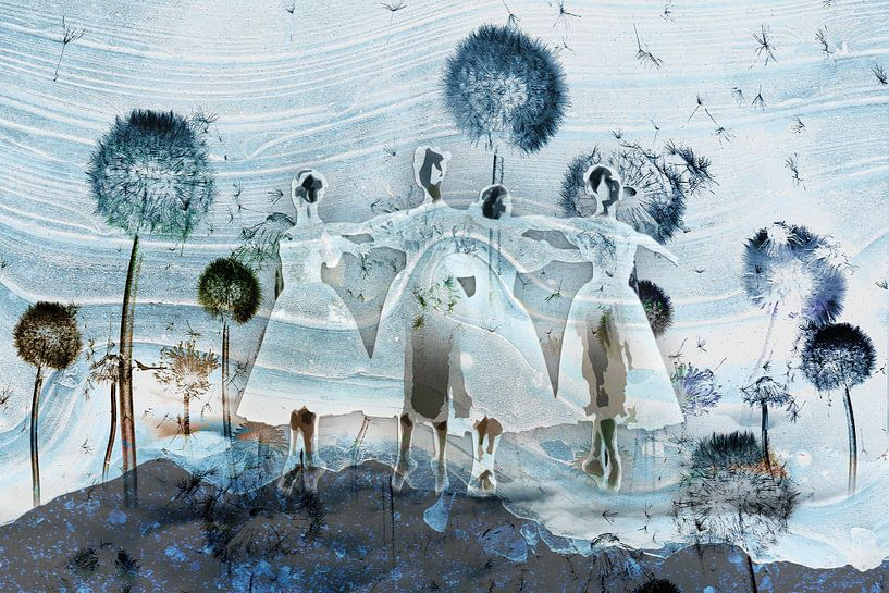 Prima ballerina in het blauw tussen de paardenbloemen van MirEll digital art