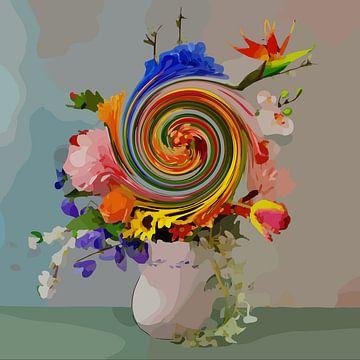 """Nature morte avec un bouquet de fleurs """"Swirl it up II"""" (en anglais) sur The Art Kroep"""