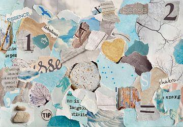 Natur-Zen-Collage in pastellblauen Grüntönen Altpapierfetzen von Trinet Uzun