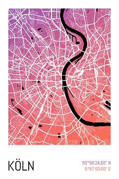 Köln – City Map Design Stadtplan Karte (Farbverlauf) von ViaMapia