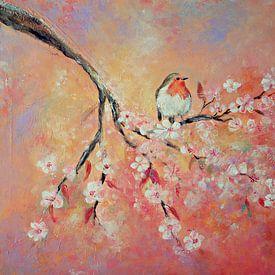 lentebloesem met roodborstje ( schilderij op canvas) van Els Fonteine