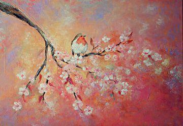 lentebloesem met roodborstje ( schilderij op canvas) van