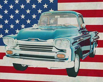 Chevrolet Apache 1959 mit Flagge der U.S.A. von Jan Keteleer