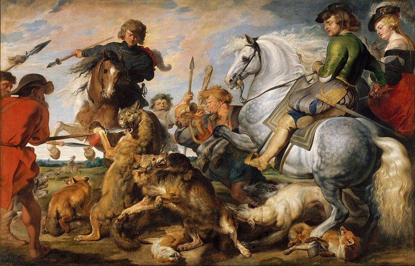 Jagd auf Wölfe und Füchse, Peter Paul Rubens von Meesterlijcke Meesters