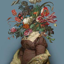 Portret van een vrouw met een boeket bloemen (blauwgrijs) van toon joosen