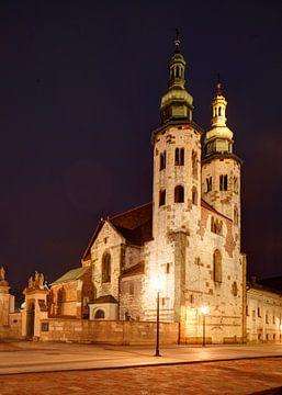 Andreaskerk in de Grodzka-straat bij Nacht, Stare Miasto oude stad, Krakau, Klein-Polen, Polen, Euro van Torsten Krüger
