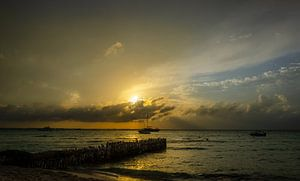 Zonsondergang op Isla Mujeres, Mexico