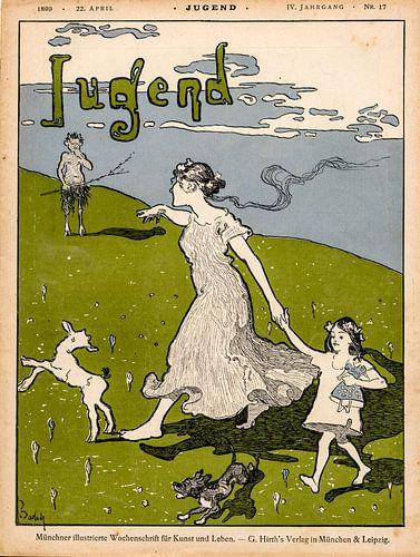 Jugendstil Vintage tijdschrift cover Jugend 22 April 1899 van Martin Stevens