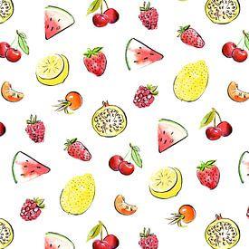 Tropisch en zomers fruit patroon van Karin van der Vegt