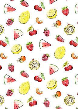 Tropisches und sommerliches Fruchtmuster von Karin van der Vegt