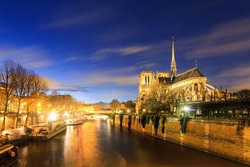 Notre-Dame Seine blauwe uur van Dennis van de Water