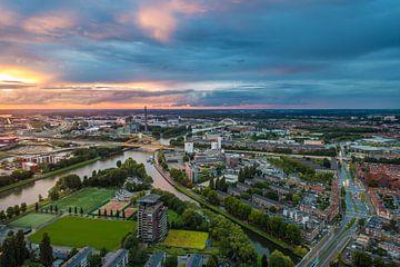 Zonsondergang Utrecht, Hogeweidebrug von Stefan Wapstra