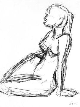 Vrouwelijk naakt zittend op de grond von Kris Stuurop