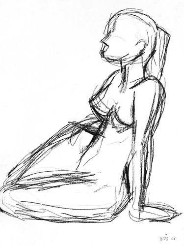 Vrouwelijk naakt zittend op de grond van Kris Stuurop