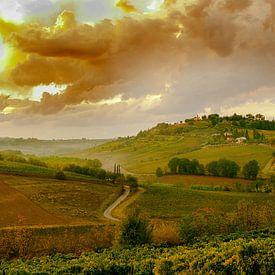 Toscane, zonsondergang van Fotografie Arthur van Leeuwen