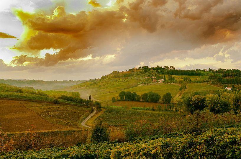 #Toscane, zonsondergang van Fotografie Arthur van Leeuwen