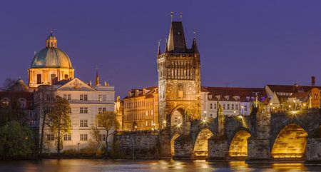 The Charles Bridge in Prague at sunset