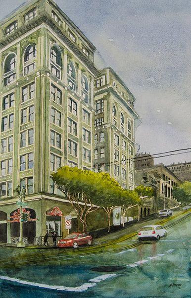 San Francisco Powell Street - Aquarel schilderij van WatercolorWall