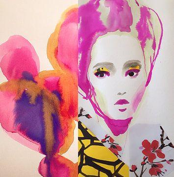 Fushia Flower Geisha van Helia Tayebi Art