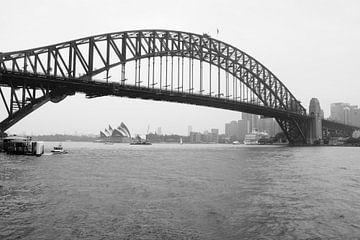 Sydney Harbour Bridge met Sydney Opera House Zwart/Wit van