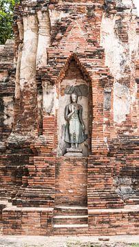 Bouddha debout entouré des vestiges d'un temple sur Wendy Duchain