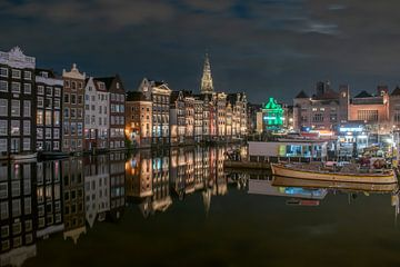 Abend auf dem Damrak , Amsterdam von Aldo Sanso