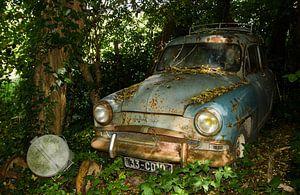 Simca Aronde verscholen in de bosjes