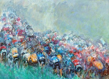 Peloton wielrenners beklimming bergetappe Tour de France van Paul Nieuwendijk