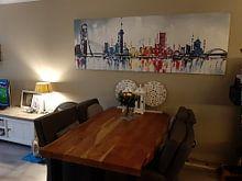Klantfoto: Skyline Rotterdam  van Artflow Schilderijen, op canvas