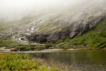 bergsee an einem nebligen morgen in Norwegen von Karijn Seldam