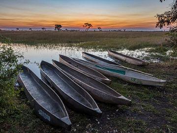Zonsondergang over de okavango delta met mokoro's op de voorgrond van victor van bochove
