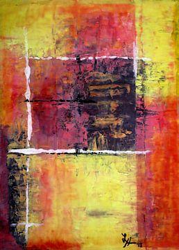 Vierkante I in rood, zwart en geel van elha-Art