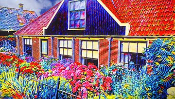 Bauernhof mit Blumen von Digital Art Nederland