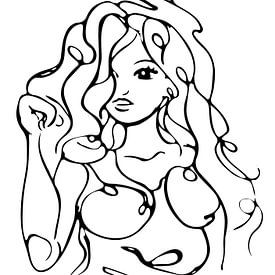 Dessin au trait d'une femme aux longs cheveux ondulés sur Emiel de Lange