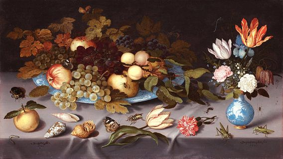 Stilleven met vruchten en bloemen, Balthasar van der Ast