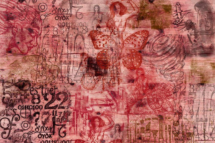 Muze - Collage in rood tinten van Rietje Bulthuis