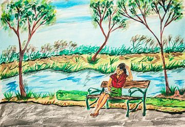 meisje in het park-Mädchen im Park-fille dans le parc-girl in the park van aldino marsella